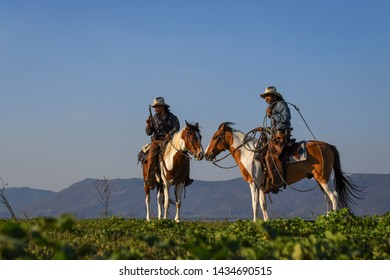 The image of the cowboy action is riding a horse and holding a gun in his hand.