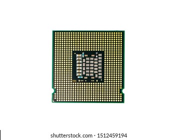 Image of cpu processor chip on a white background. Equipment and computer hardware. Central Processing Unit., Microprocessor.