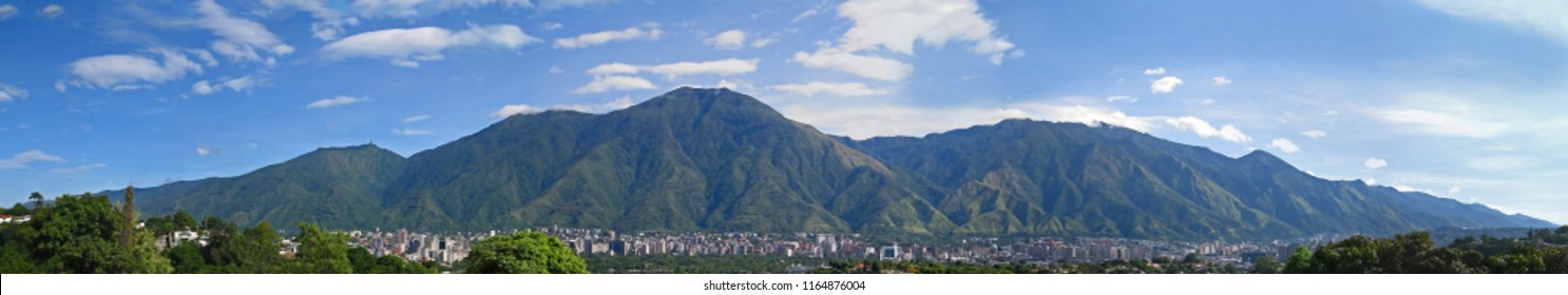 Image Created on July 18 , 2018 , Picture took in Caracas, Venezuela, in picture Caracas City , showing the most important mountain that its called Avila