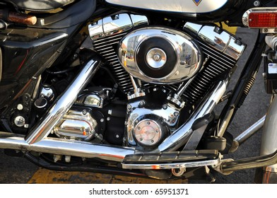 Image of custom motorbike mechanical detail.