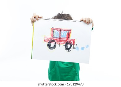 the image of cute Asian kid with drawing