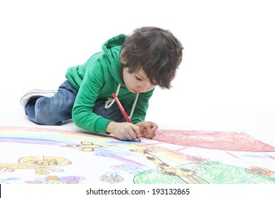 the image of cute Asian kid drawing