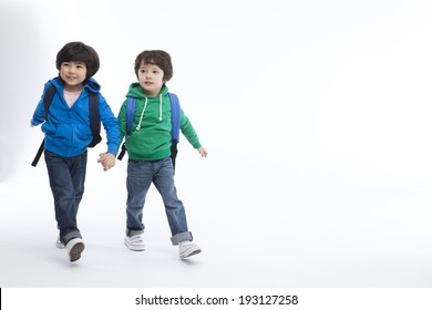 the image of cute Asian kids with school bags