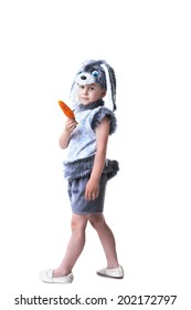 Image of cute boy in rabbit costume with carrot
