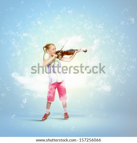 Image of cute girl playing violin against blue background