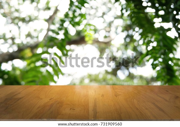 Image of dark wooden table in front of abstract blurred background of outdoor garden lights. can be used for display or montage your products.Mock up for display of product.
