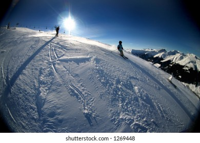 Image dealing with skiing/wintersport related theme in the Swiss alps near Davos.