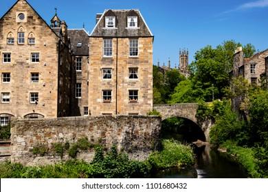 Image of Dean village in spring. Edinburgh, Scotland.