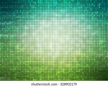 Image of defocused stadium lights.Abstract blue and green background with neon effects and colorful lights.