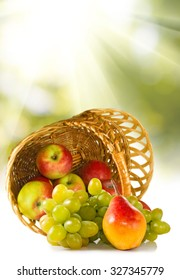 image of different fruits in a basket close-up