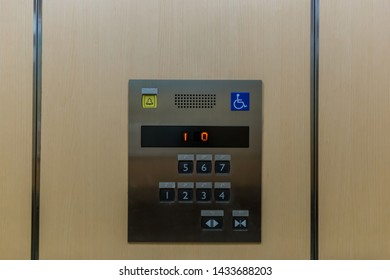 Image of disabled lift button. Stainless steel elevator panel push buttons for blind and disability people. Push Button For the disabled. Care and technology. Elevator buttons for disabled people.