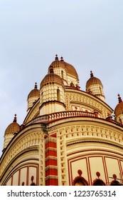 Image of the distinctive Vimana of the Goddess Kali temple of Dakshneshwar located in the Indian city of Kolkota, West Bengal
