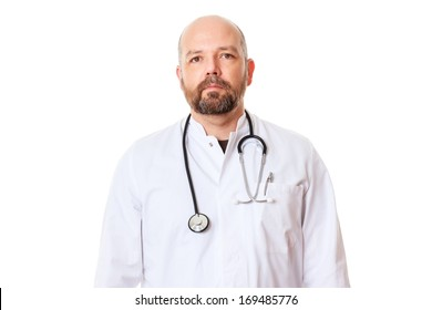 An image of a doctor with a stethoscope isolated on white