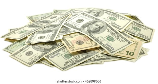 image of  dollars on  white background close-up