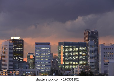An image of Downtown buildings sunset