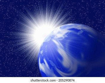 An Image of Earth And Sun