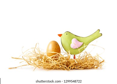 An image of a Easter nest with a bird and an egg