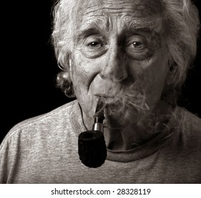 Image of an Elderly Man and His pipe