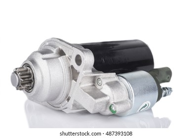 Image of Electric Starter for a car with solenoid isolated on white background