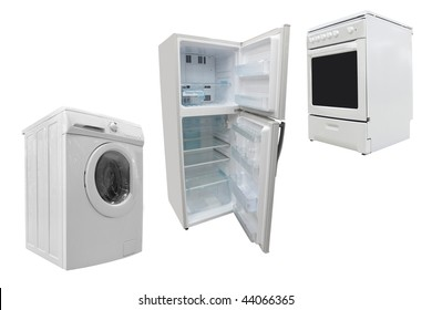 The image of electric stove, washer and refrigerator