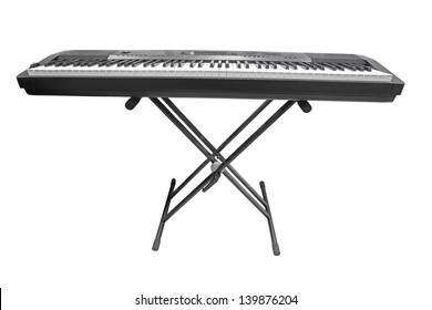 The image of an electronic synthesizer under the white background