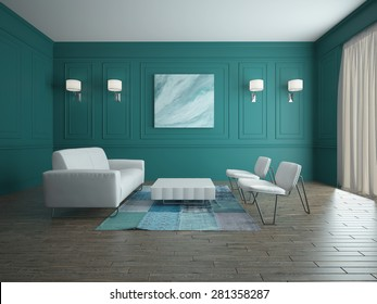 Image of empty interior with furniture 3D rendering
