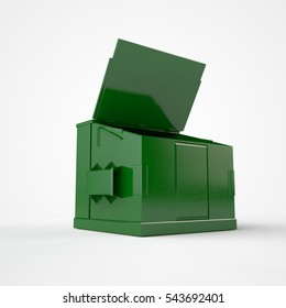 the image of an empty, old dumpster, scratched, green in color, with the lid open, a symbol of ecology, white background, 3D rendering