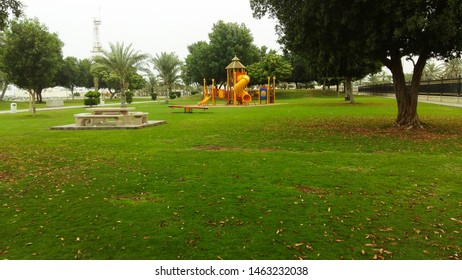 Image of an empty park for children in Dubai.