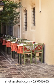 Image of empty restaurant in Rethymnon town on Crete, Greece.