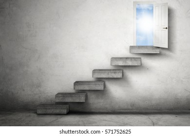 Image of an empty staircase leading to an opportunity door with bright sunlight