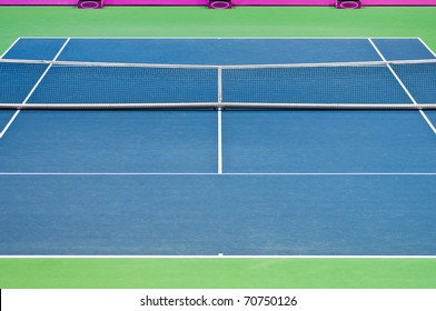 Image of empty tennis court for backgrounds. Surface: Hard