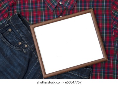 Image of an empty whiteboard above a red shirt and pant for father's day