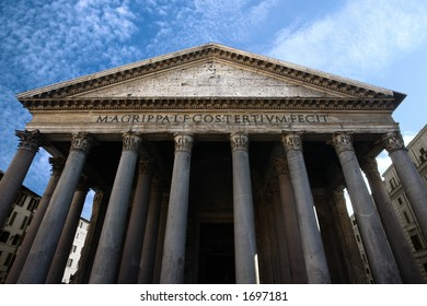 Image of the facade of the Pantheon in Rome, Italy. Shot with wide angle lens at a very low angle.