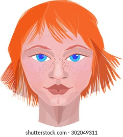 The image of the face of the boy with red hair