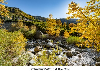 Image of a Fall landscape along the North Yuba River with the sun shinning through the Autumn trees.