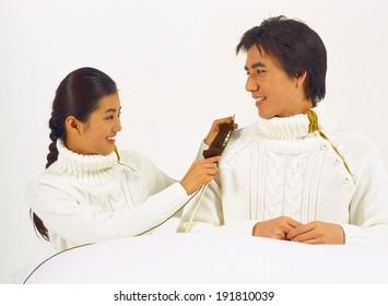 The image of family in Korea knitting