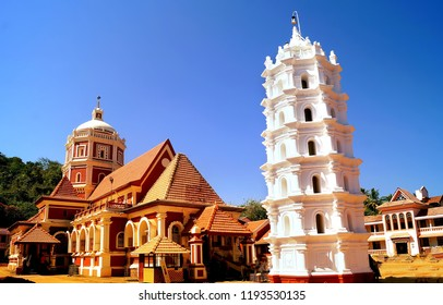 Image of the famous ancient Shantadurga Temple located in the Indian state of Goa