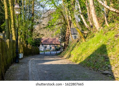 Image of the famous cobblestone road Muur van Geraardsbergen located in Belgium. On this road every year is organized the famous one day road cycling race Tour of Flanders.