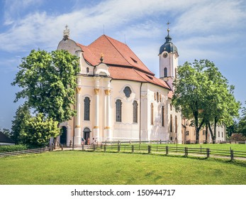 An image of the famous Wieskirche in Bavaria Germany