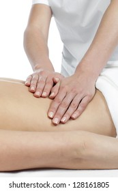 Image of female back receiving massage against white background