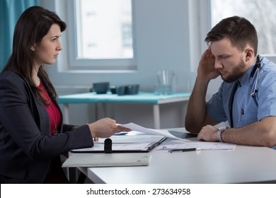 Image of female lawyer in doctor's office