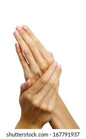 Image of female manicured hands on white background