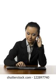Image female phone operator against white background