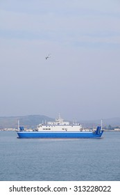 The image of a ferry across the Kerch Strait