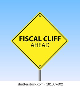 "Image of a ""Fiscal Cliff Ahead"" sign against a blue sky background."