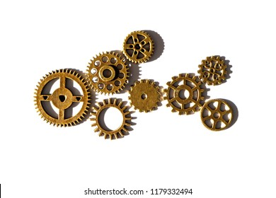 the image of fish collected from gears on white paper, brass gears