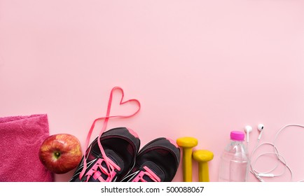 image of fitness equipment on pink  background