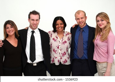 image of five young people in business dress