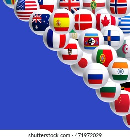 image of flags of different countries on a blue background closeup
