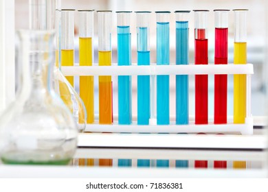 Image of flasks with liquids in laboratory